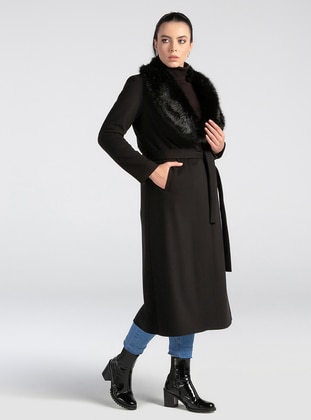 Black - Unlined - V neck Collar - Rayon - Coat