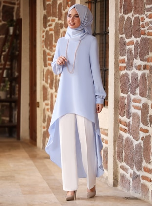 Baby Blue - V neck Collar - Crepe - Tunic