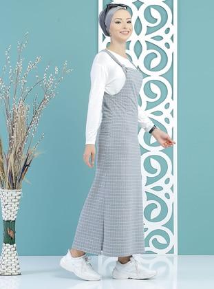 Gray - Checkered - Sweatheart Neckline - Unlined - Dress