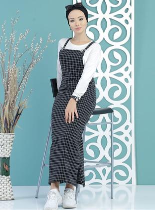 Black - Checkered - Sweatheart Neckline - Unlined - Dress