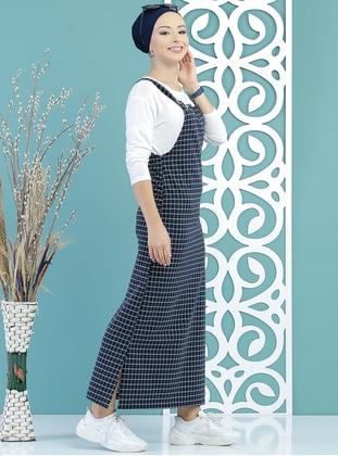 Navy Blue - Checkered - Sweatheart Neckline - Unlined - Dress