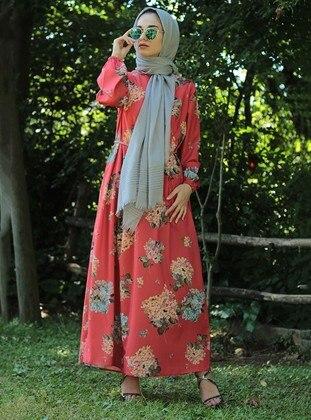 Coral - Floral - Dress