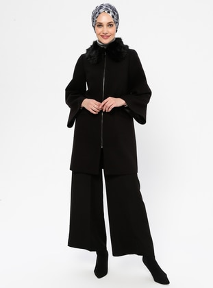 Black - Unlined - Crew neck - Rayon - Coat
