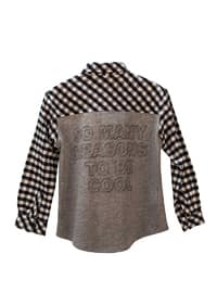 Checkered - Point Collar -  - Unlined - Gray - Boys` Shirt