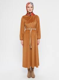 Camel - Crew neck - Unlined - Dress