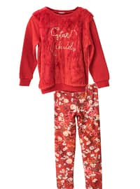 Multi - Crew neck -  - Unlined - Red - Girls` Suit
