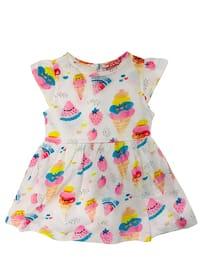 Multi - Crew neck - Cotton - White - Baby Dress
