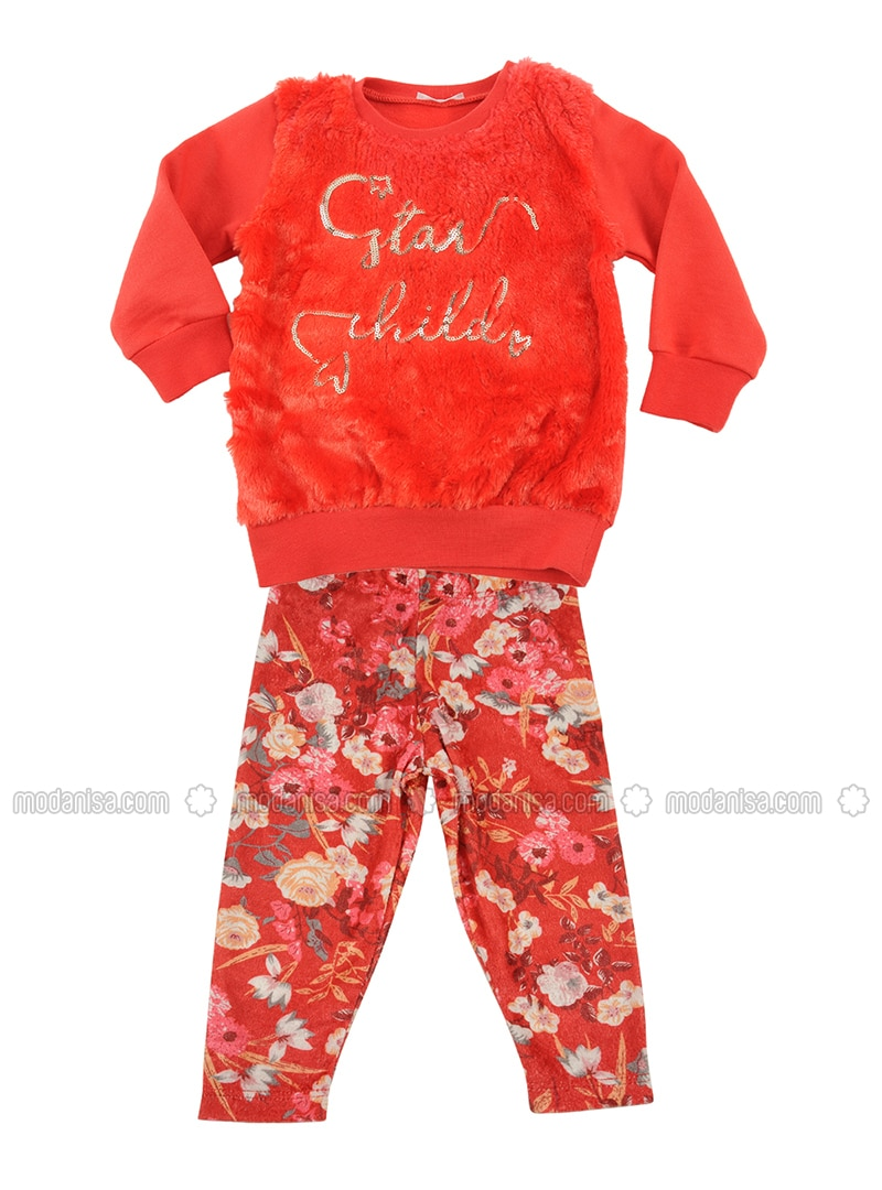 Multi - Crew neck -  - Unlined - Red - Baby Suit