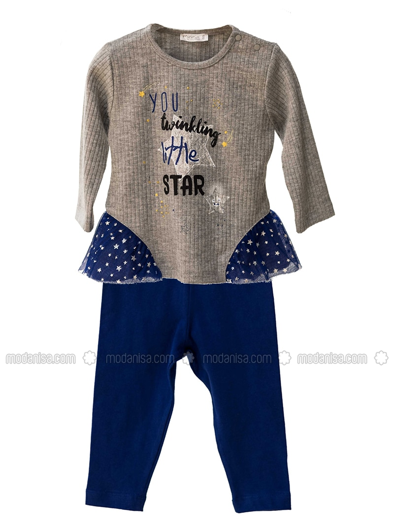 Crew neck -  - Unlined - Gray - Saxe - Baby Suit