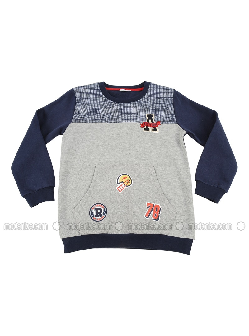 Crew neck -  - Unlined - Gray - Baby Cardigan