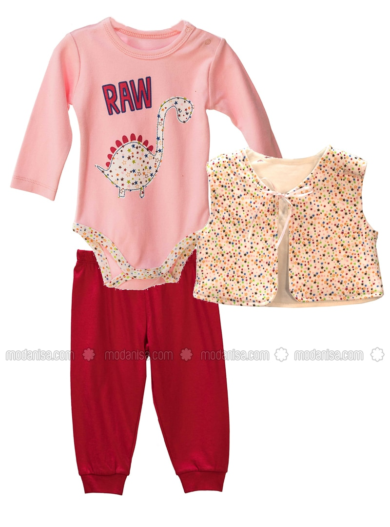 Crew neck -  - Unlined - Red - Pink - Baby Suit