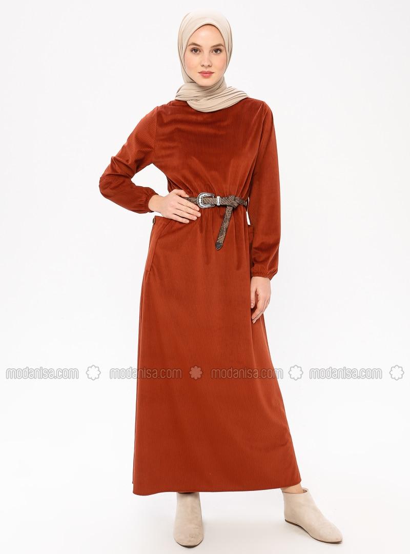 Terra Cotta - Crew neck - Unlined - Dress