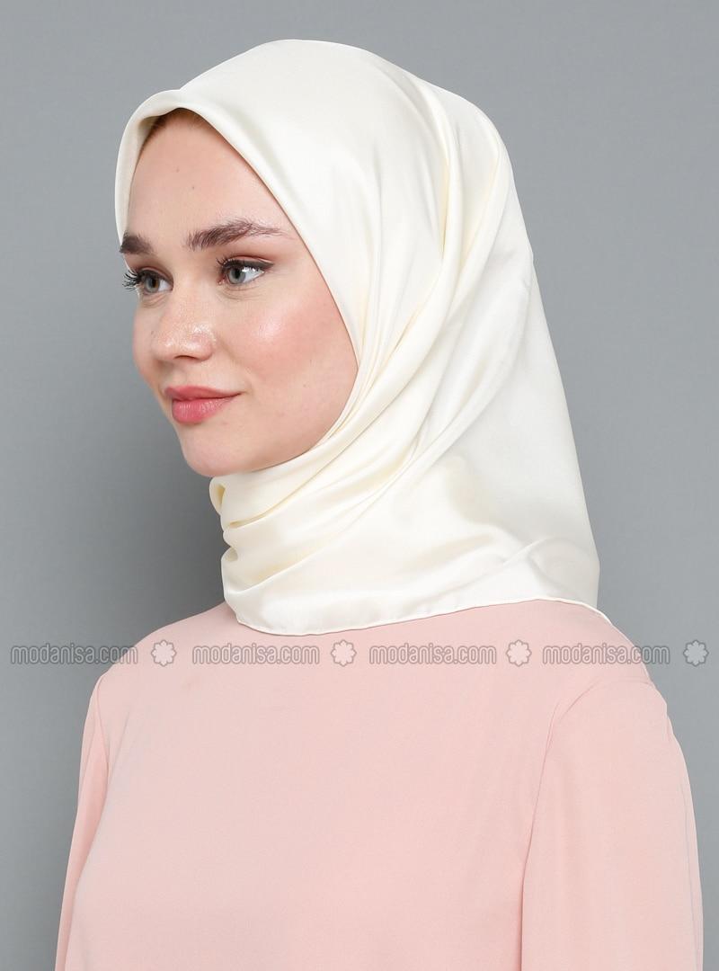 White - Plain - %100 Silk - Twill - Scarf