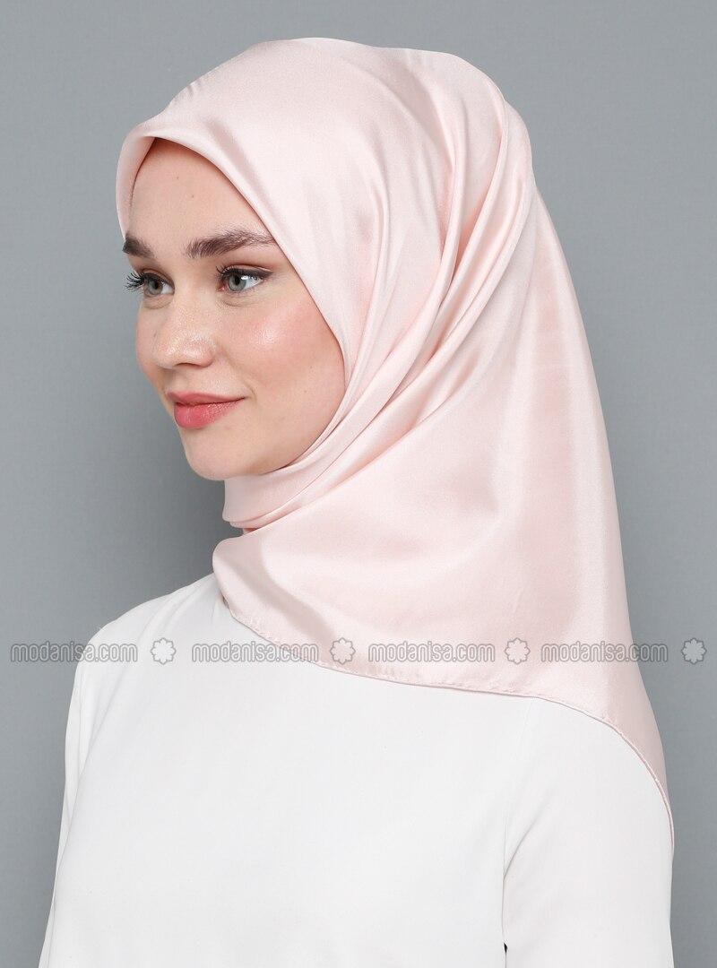 Pink - Plain - %100 Silk - Twill - Scarf
