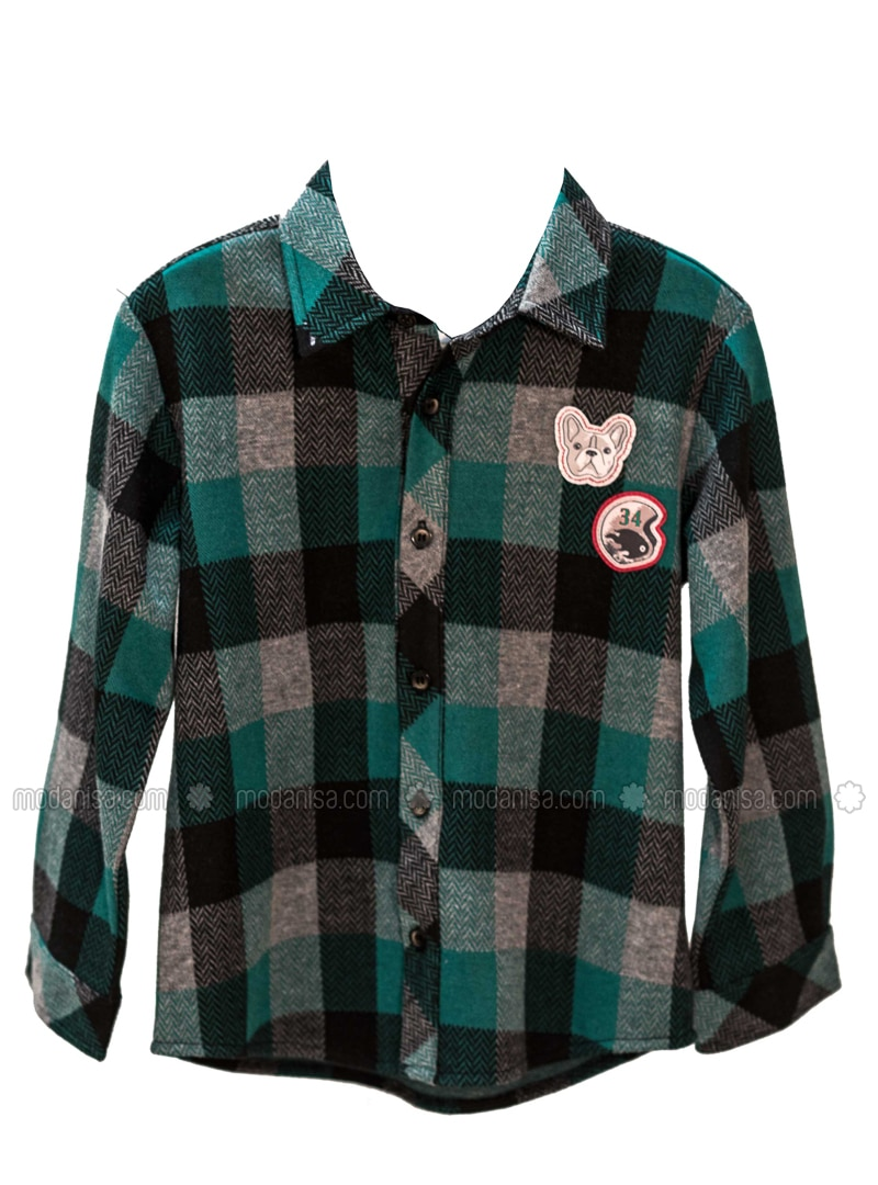 Multi - Point Collar -  - Unlined - Green - Boys` Shirt
