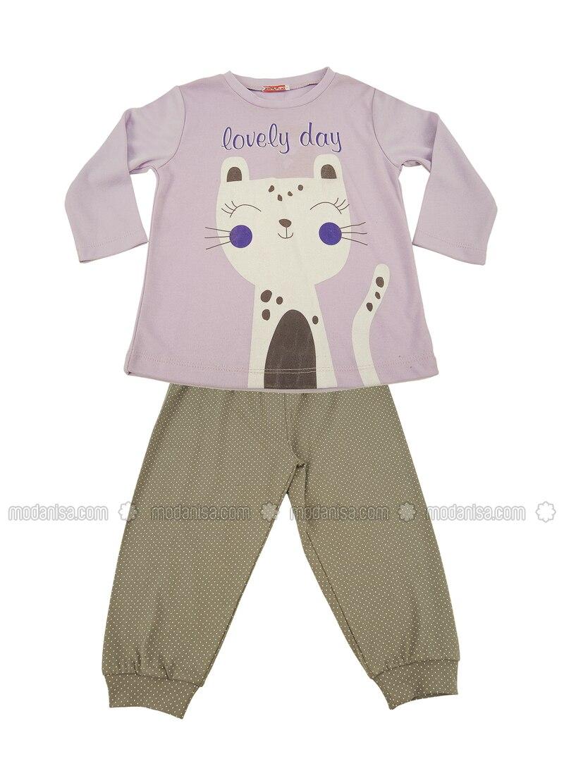 Crew neck -  - Unlined - Lilac - Girls` Pyjamas