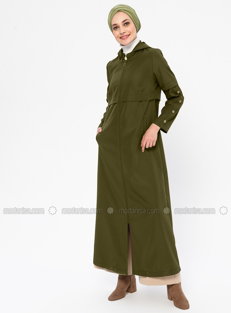 Khaki - Unlined - Plus Size Overcoat