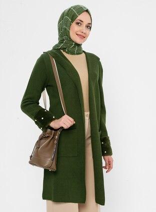 Khaki - Acrylic - Viscose - Wool Blend - Cardigan