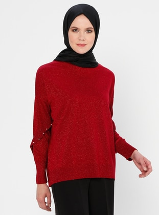 Red - Crew neck - Acrylic - Viscose - Wool Blend - Jumper