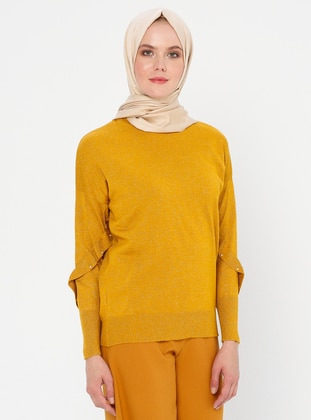 Mustard - Crew neck - Acrylic - Viscose - Wool Blend - Jumper
