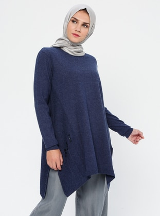 Indigo - Crew neck - Acrylic - Viscose - Wool Blend - Tunic
