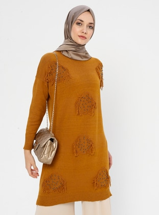 Mustard - Crew neck - Acrylic - Viscose - Wool Blend - Tunic