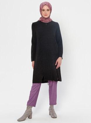 Black - Crew neck - Acrylic - Viscose - Wool Blend - Knit Cardigans