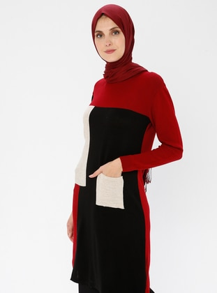 Red - Crew neck - Acrylic -  - Tunic