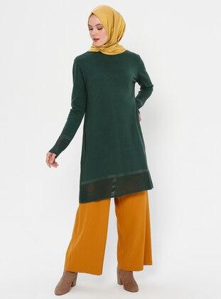 Emerald - Crew neck - Acrylic - Viscose - Wool Blend - Tunic