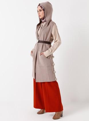 Beige - Unlined - V neck Collar - Acrylic - Viscose - Wool Blend - Vest