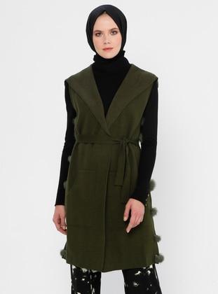 Khaki - Unlined - V neck Collar - Acrylic - Viscose - Wool Blend - Vest