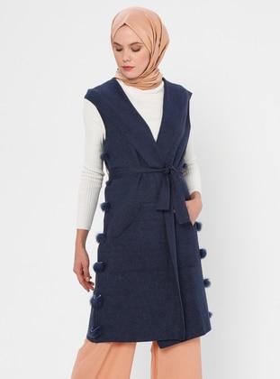 Indigo - Unlined - V neck Collar - Acrylic - Viscose - Wool Blend - Vest