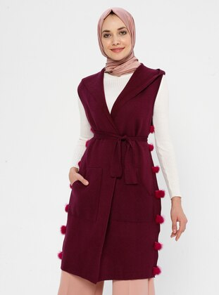 Plum - Unlined - V neck Collar - Acrylic - Viscose - Wool Blend - Vest