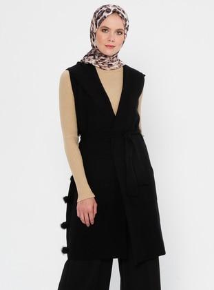 Black - Unlined - V neck Collar - Acrylic - Viscose - Wool Blend - Vest