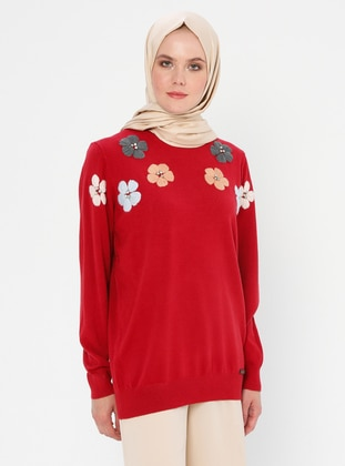 Red - Crew neck - Acrylic - Viscose - Wool Blend - Knit Sweaters