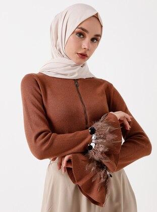 Brown - Crew neck - Acrylic - Viscose - Wool Blend - Cardigan
