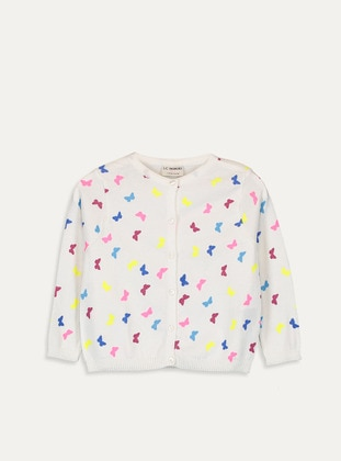 Printed - Crew neck - Ecru - Girls` Cardigan - LC WAIKIKI