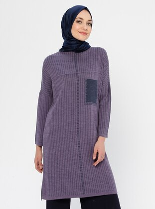 Lilac - Checkered - Crew neck - Acrylic - Viscose - Wool Blend - Tunic