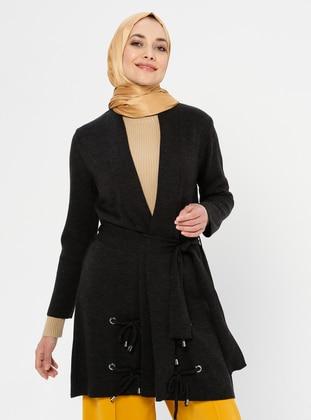 Black - Crew neck - Acrylic - Viscose - Wool Blend - Cardigan