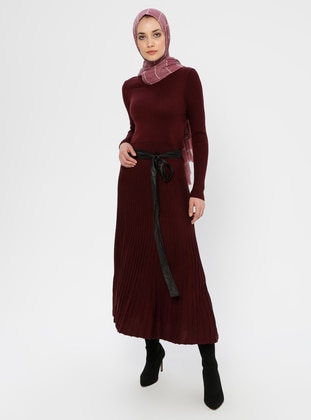 Maroon - Crew neck - Unlined - Viscose - Dress