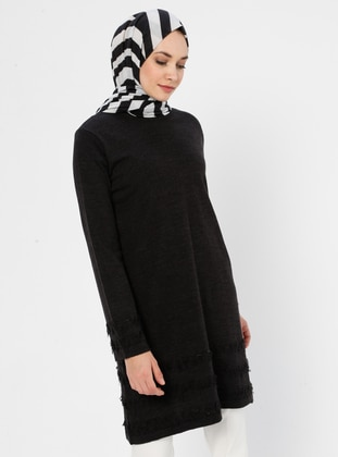 Black - Crew neck - Acrylic - Viscose - Wool Blend - Tunic