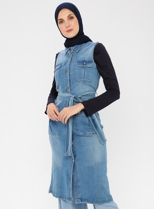 Indigo - Unlined - Point Collar - Denim -  - Vest - TUĞBA
