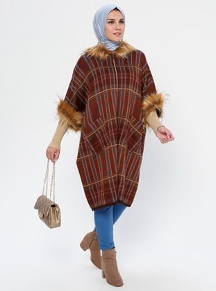 Brown - Unlined - Acrylic - Wool Blend - Poncho