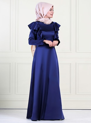 Navy Blue - Crew neck - Unlined - Crepe - Satin - Dress