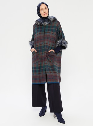Petrol - Unlined - Acrylic - Wool Blend - Knit Ponchos