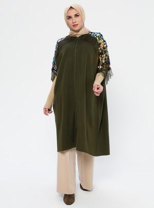 Khaki - Unlined - Acrylic - Wool Blend - Poncho