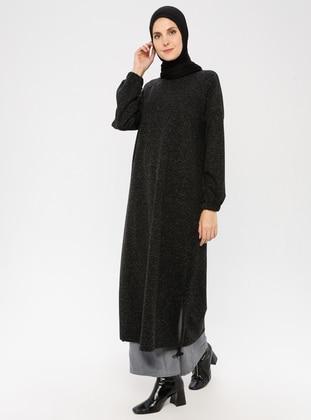 Black - Button Collar - Unlined - Linen - Dress