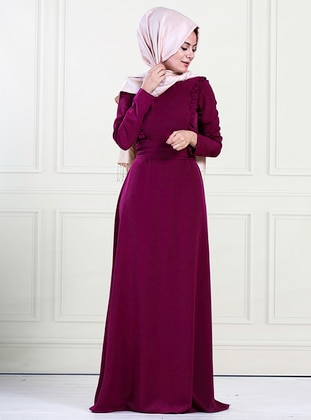 Fuchsia - Crew neck - Unlined - Crepe - Dress