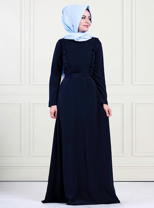 Navy Blue - Crew neck - Unlined - Crepe - Dress