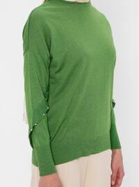 Green - Crew neck - Acrylic - Viscose - Wool Blend - Jumper